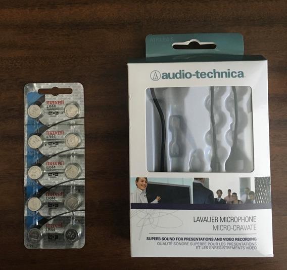 Microfone Lapela Audio Techinica Atr3350is + Pack De Bateria