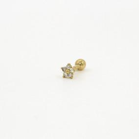 Piercing De Cartilagem/tragus Ouro 18k Flor 5 Pedras