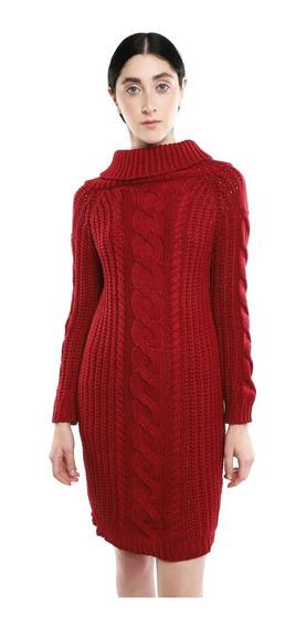Sueter Tejido Grueso Mujer Corte Vestido Color Rojo Lob