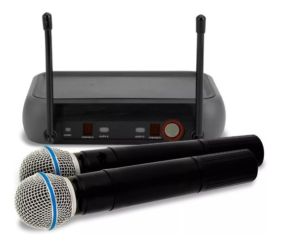 Microfone Sem Fio Duplo De Mão Weisre Profissional Completo!