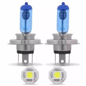 Lampada Super Branca H4 Tipo Xenon 8500k + 2 Pingo 5 Led T10