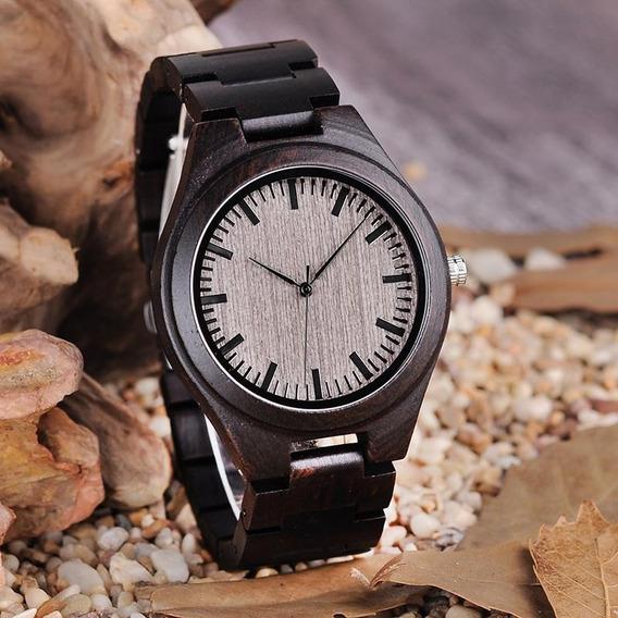 Relógio Quartzo Bobo Bird Bambu Madeira Envelhecid Original