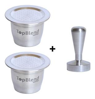 2 Cápsulas Reutilizáveis Nespresso Topblend + Tamper + Frete