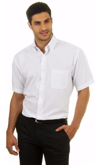 Camisa Masc. Manga Curta Social Uniforme Tecido Passa Fácil