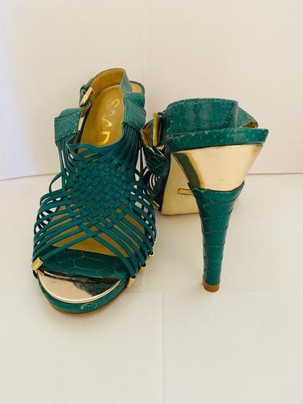 Sandália Salto, Luxo, Saad, Verde Com Dourado, 100% Couro