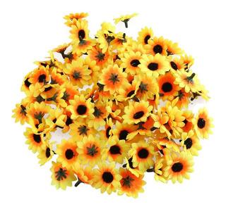100 Flores De Girasol Artificiales Decoración Con Girasoles