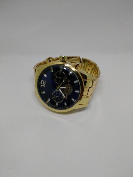 Relógio Quartz Em Aço Dourado