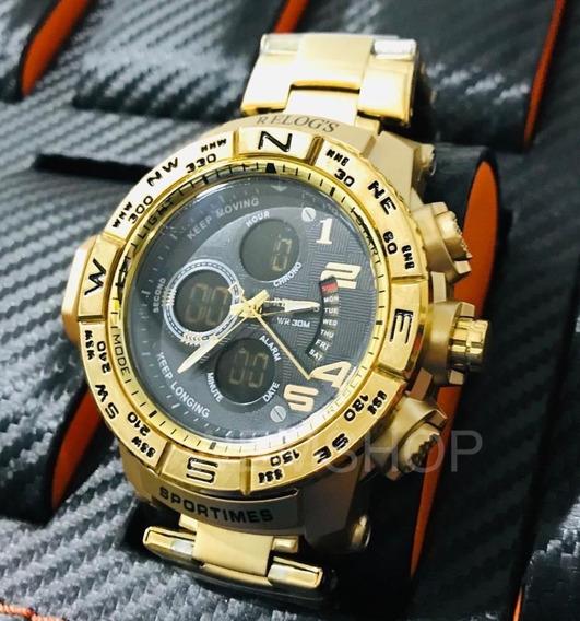 Relógio Masculino Original Lançamento Dourado Aprova De Aguá