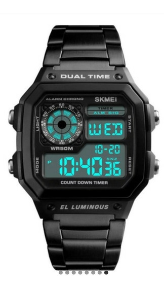 Relógio Skmei Retro Importado1335 Digital Pulseira Aço Inox