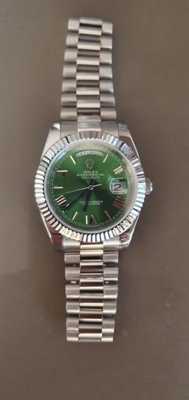 Relógio Day Date Aço Inoxidável Fundo Verde Green Dial Novo