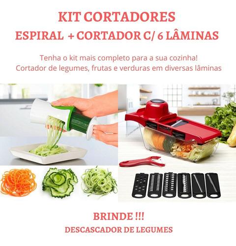 Imagem 1 de 10 de Picador De Legumes Cortador Espiral Espaguete Promo Kit