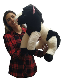 Caballo De Peluche Negro Con Beige Tierno Y Suave 50 Cm