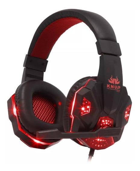 Fone de ouvido Knup KP-397 preto y vermelho