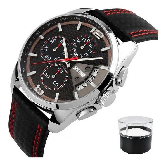 Relógio Original Skmei 9106 - Pulseira Em Couro Legítimo