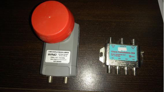 Kit Com 1 Lnb Duplo Faixa Larga E 1 Chave Comutadora 3 X 4