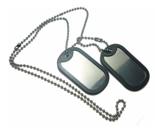Corrente E Placa Militar Dog Tag Em Aço Inox