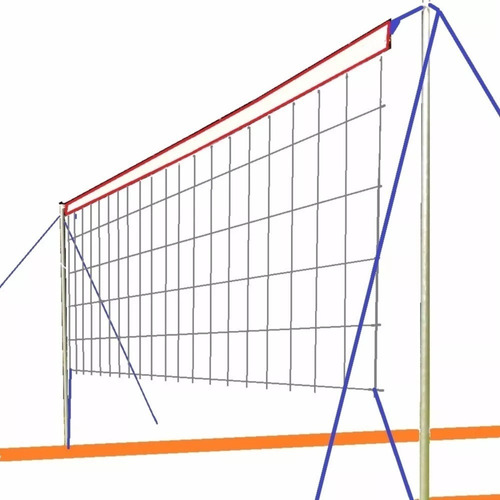 Imagen 1 de 10 de Cancha Futbol Tenis Voley Completa 6x3m Red Parantes Lineas - Resiste Lluvia Sol - Apto Cesped Arena