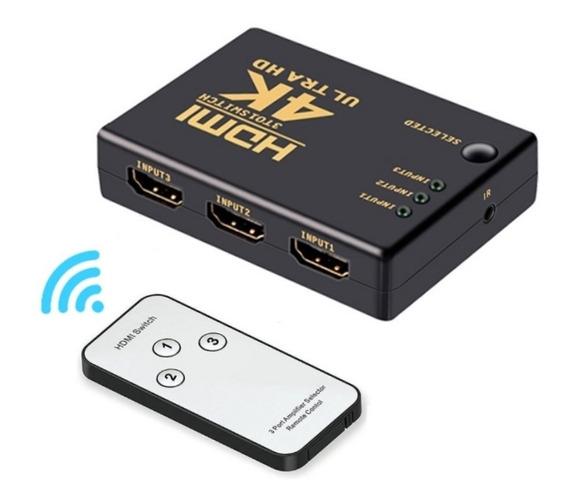 Chaveador Hub Switch Hdmi 3x1 C/ Controle Remoto E Fonte