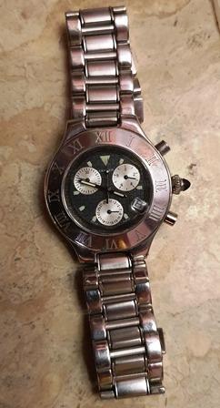 Cartier Chronograf 21, Relógio Pulso Unissex ,modelo 2424,
