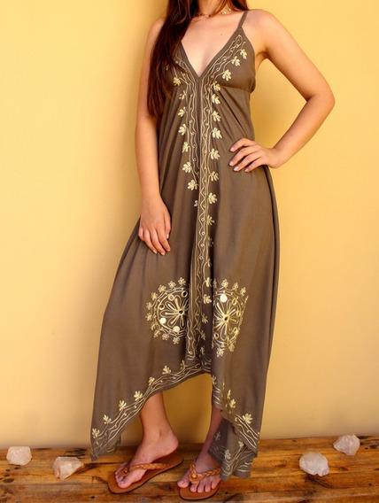 Vestido Indiano Longo Cáqui