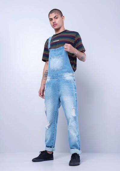 Macacão Jeans Com Puídos