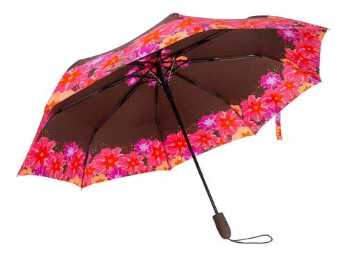 Paraguas Marron Flores