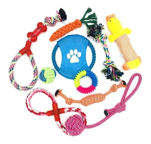 10 Pcs Dog Rope Toys Teeth Cleaning Cotton Rope Chew Toys St