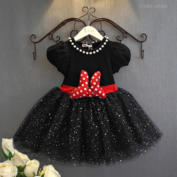 Vestido Elegante Preto Minnie Vermelha