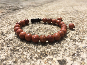 Pulseira Masculina Fem Pedra Do Sol 8mm Regulável Shambala