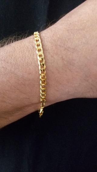 Pulseira Masculina Grumet 3mm Dourada Banhada A Ouro 18k T&d