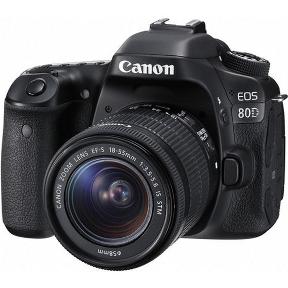 Câmera Canon Dslr Eos 80d Com Lente 18-55mm Stm - Loja Platinum