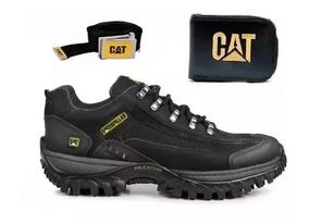 Kit Sapato Tenis Cat Em Couro + Cinto + Cart + Super Oferta