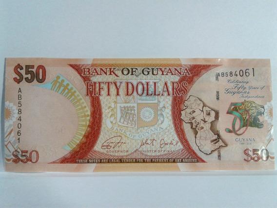 Cédula Guyana - Fé - 50 Dolares 2016 - 50 Anos Independencia