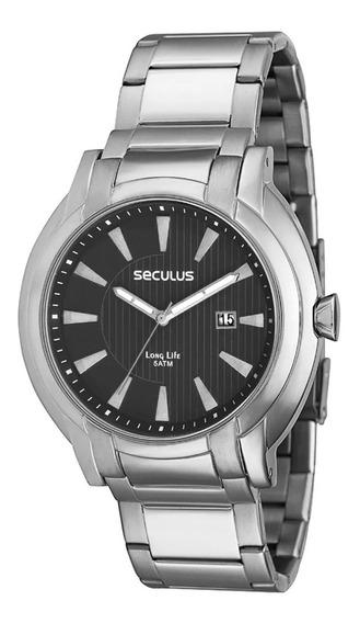Relógio Masculino Seculus Prata Analógico Aço Inoxidável