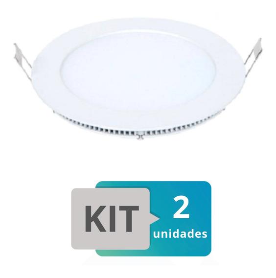Kit 2 Painel Plafon Led Embutir Slim Redondo 18w Branco Quen