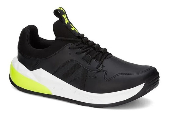Tenis Sneaker Urbano Ferrato Negro Detalles Neon Hombre