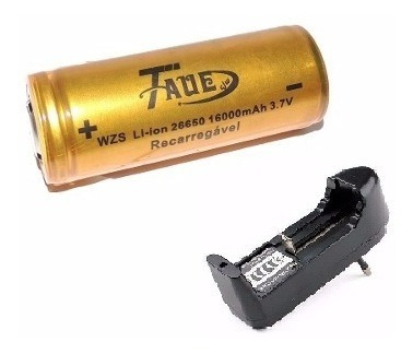 Kit Carregador + Bateria 26650 3.7v 16000mah Tauê Incrível