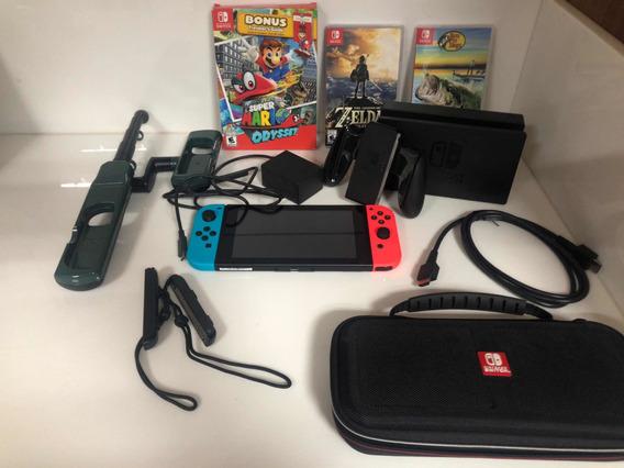 Nintendo Switch Completo + Três Jogos + Capa Para O Console