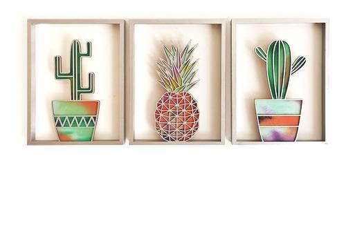 Cuadro Decorativo Tríptico Cactus Y Piña Geométricos