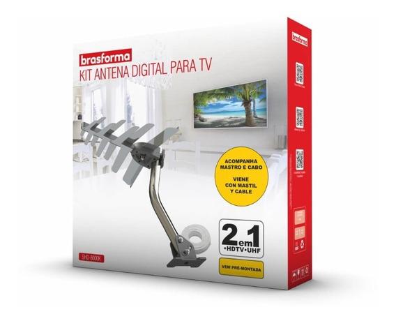 Antena Digital Externa + Cabo + Mastro De Fixação Shd 8000k.