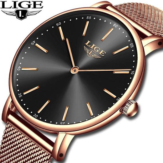 Relógio Femenino Lige 9895 Dourado Rose 30 Metros Original