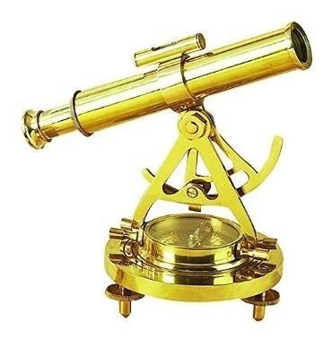 Telescopio Con Brujula De Bronce Macizo (nuevo)