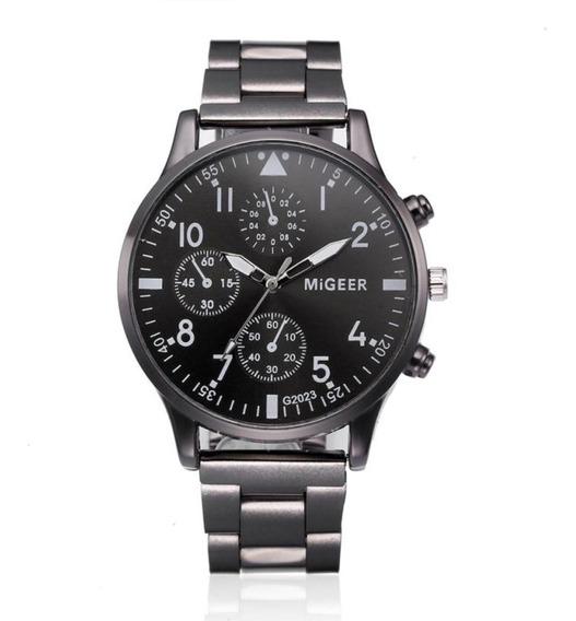 Relógio Luxo Masculino Migeer G2023 Pulseira Aço Inox Blac