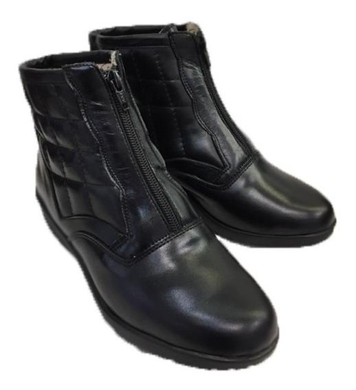 Bota De Cuero Cómodo Para Damas Modelo 7080/negro