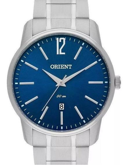 Relógio Orient Masculino Prata E Azul Analógico Mbss1268d2sx