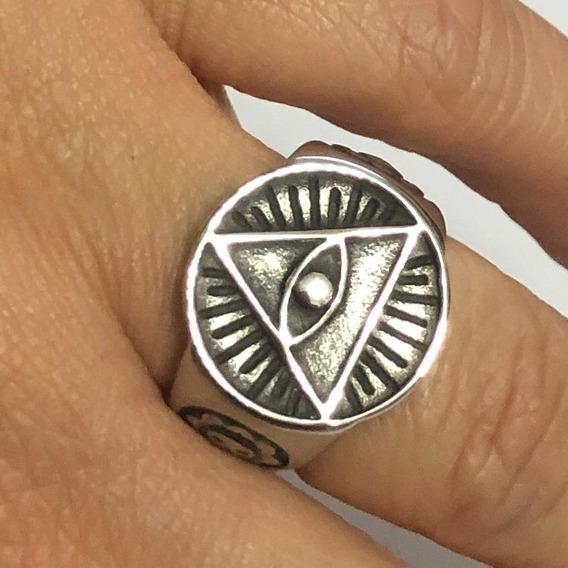Anel Illuminati Olho Tudo Vê Maçonaria Piramide Aço Stlr A46