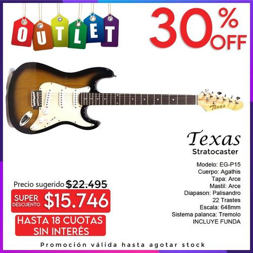 Imagen 1 de 9 de Guitarra Electrica Stratocaster Texas Eg-p15 + Funda Outlet