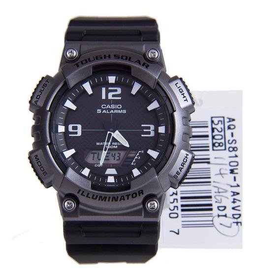 Reloj Casio Aqs810w1a4 Negro Wr 100 M Solar Analogo/digital*
