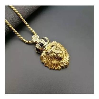 Colar Masculino Titânio Banho Ouro 18k Leão Coroa Zircônia