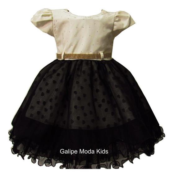 Vestido Preto E Creme Infantil Tamanhos 1 Ao 3